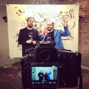 "Hosts Marty & Ross filming the ""What is Super Art Fight"" intro."
